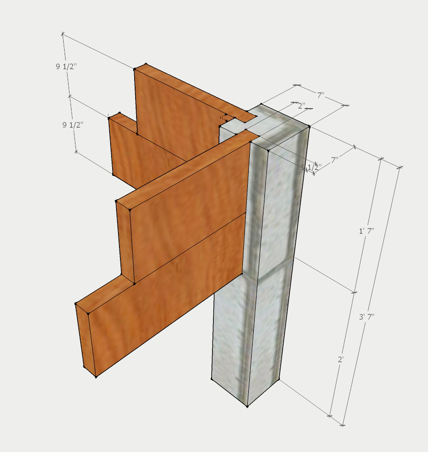 DIY Concrete raised bed posts design drawing | Bistro One Six