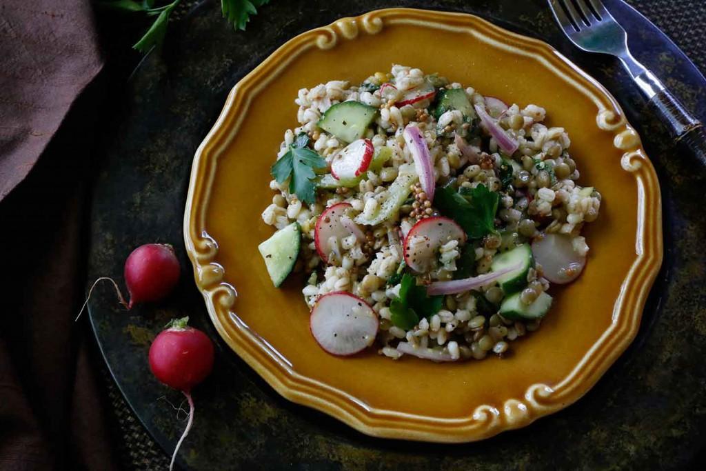 Lentil & Pearl Barley Spring Salad with Pickled Mustard Seeds