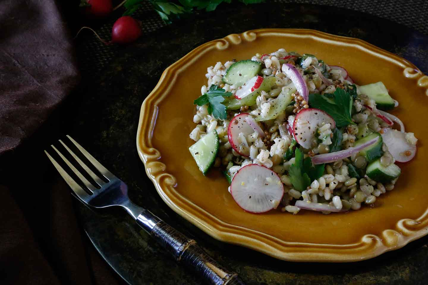 lentil & pearl barley spring salad with pickled mustard seeds
