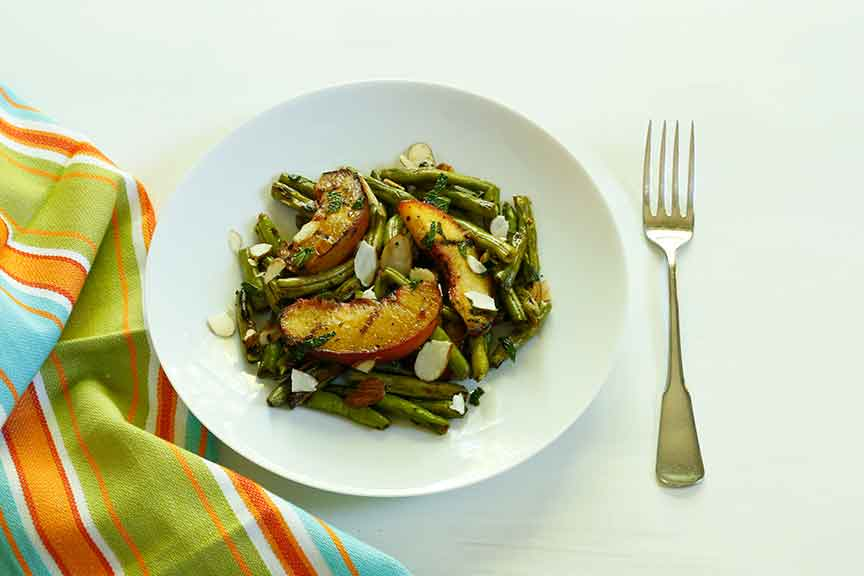 Grilled Green Beans & Peaches with Mint