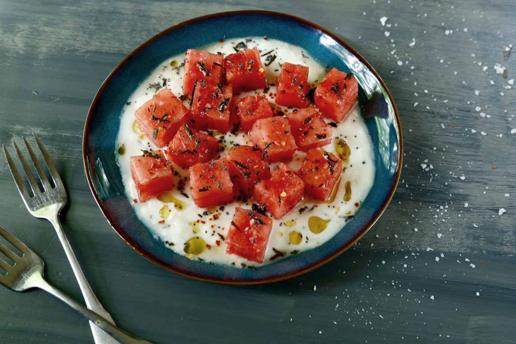Watermelon with Yogurt and Fried Rosemary