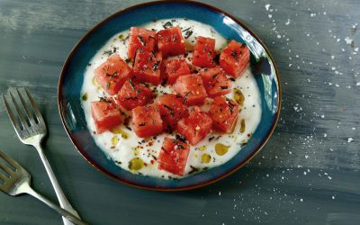 watermelon with yogurt & fried rosemary