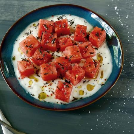 Watermelon with Yogurt and Fried Rosemary