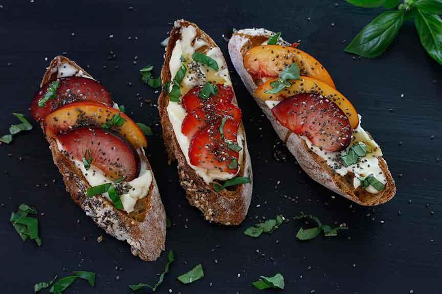 toast with lemon ricotta and fruit