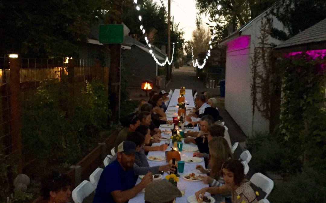 harvest party in the SNOW block alley